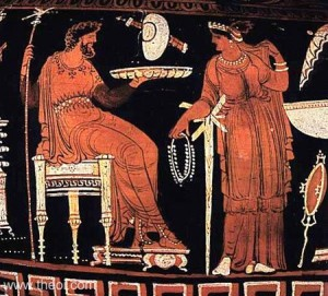 Hades, on left, shown with his wife, Persephone, on the right.