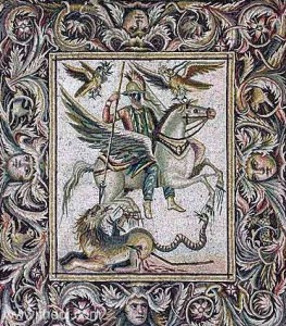 A floor mosaic from Syria depicting Bellerophon and Pegasus defeating the Chimera.