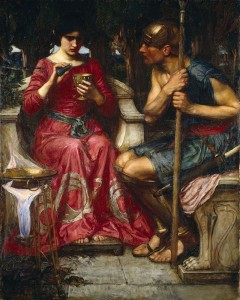 Medea mixes a poison to save her love, Jason. Painting by John William Waterhouse.