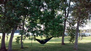 My boys are enjoying the break in the heat by swinging in the ENO.