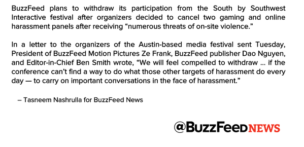 RT @BuzzFeedNews: .@BuzzFeed To Withdraw From SXSW…