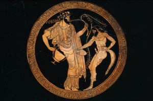 A Greek vase depicting a satyr with Dionysus.